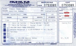 Cruz del Sur Ticket